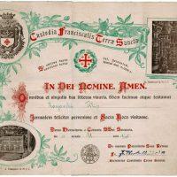 50-Custodia Franciscalis Terra Sanctae Certyfikat potwierdzający wizytę Filipa Roszowskiego w Rzymie w 1945 roku