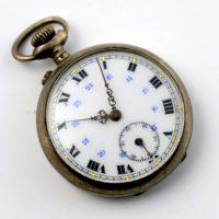 Srebrny zegarek kieszonkowy nr 3728 sygnowany JR