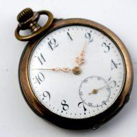 Srebrny XIX zegarek kieszonkowy Galonne nr 1513 Remontoir Cylindre 6 Rubins